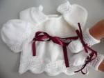 Tricot laine bébé fait main brassière bordeaux