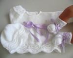 Tricot laine bébé fait main trousseau brassière