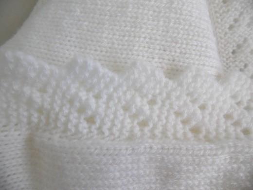 couverture blanche tricot laine b b fait main s te. Black Bedroom Furniture Sets. Home Design Ideas