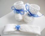 Ensemble bandeau et chaussons bébé tricot laine