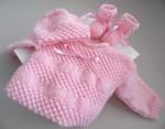 Trousseau rose bébé tricot laine fait main
