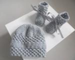Bonnet chaussons GRIS tricot laine fait main