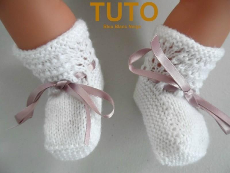 9192e84dfded4 Explication tuto chaussons layette bébé tricot laine - Sète