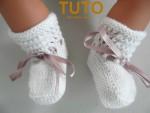Explication TUTO chaussons layette bébé tricot laine