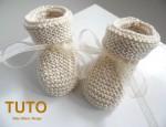 TUTO chaussons à revers beige tricotés main bébé