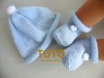 TUTORIEL chaussons bleu à pompons bébé tricot laine 1