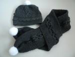 Echarpe et bonnet bébé gris 06-12mois