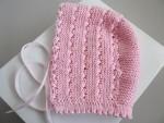 Bonnet, béguin ROSE bébé tricot laine fait main