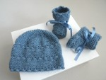 Tricot bébé bonnet chaussons bleu charron laine