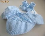 Tuto brassière, bonnet, chaussons bleu astra