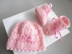 Tricot bébé bonnet chaussons calinou rose