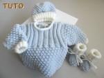 Tuto tricot bébé trousseau BLEU AZUR