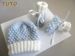 Tuto tricot bébé Bonnet et chaussons  Azur et ecru clair