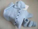 Trousseau tricot bébé bleu aquilon