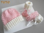 Explications bonnet et chaussons cali rose bébé laine