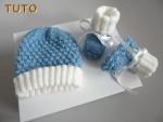 Tutoriel, duo bonnet chaussons cali bleu écru laine bébé