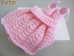 Explications jupe et ballerines tricot laine bébé fait main