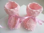 Chaussons tricot bébé cali rose fait main