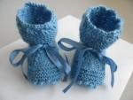 Chaussons bébé laine calinou bleu fait main