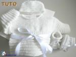 TUTO tricot bebe, trousseau motif godron, bb mixte