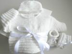Tricot bebe, ensemble bb mixte, motif godron, tricote main